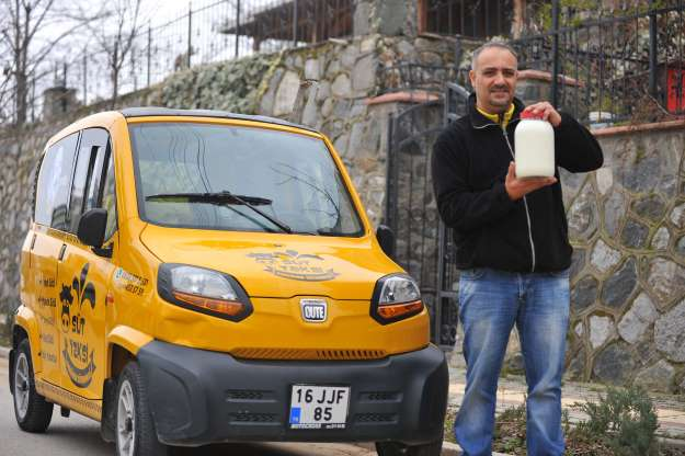 süt taksi ile kapıya kadar süt götürüyor