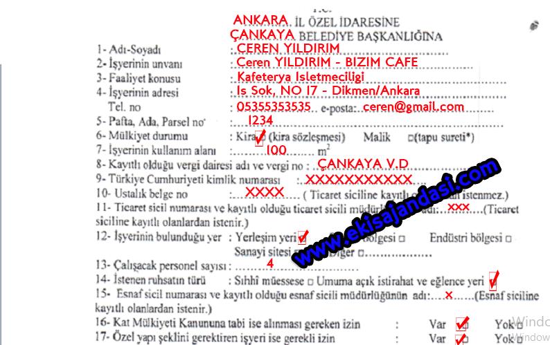 cafe açmak için başvuru formu - 1